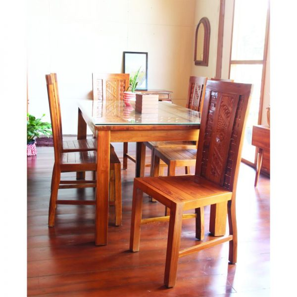 set kursi makan jati